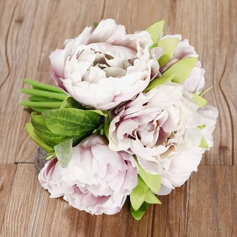 Artificial Fake Rose Silk Peony Flower Wedding Party Bridal Bouquet ...