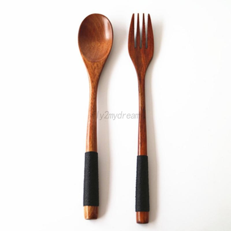 Wooden Spoon Fork Long Handle Cutlery Cooking Soup