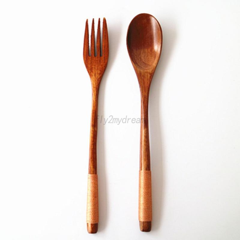 wooden spoon fork long handle cutlery cooking soup teaspoon tableware utensil ebay. Black Bedroom Furniture Sets. Home Design Ideas