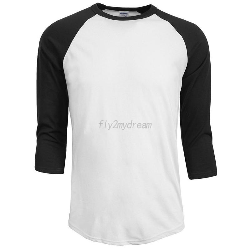 Men-Women-3-4-Sleeve-100-Cotton-T-Shirt-Baseball-Running-Tee-Sports-Top-Blouse