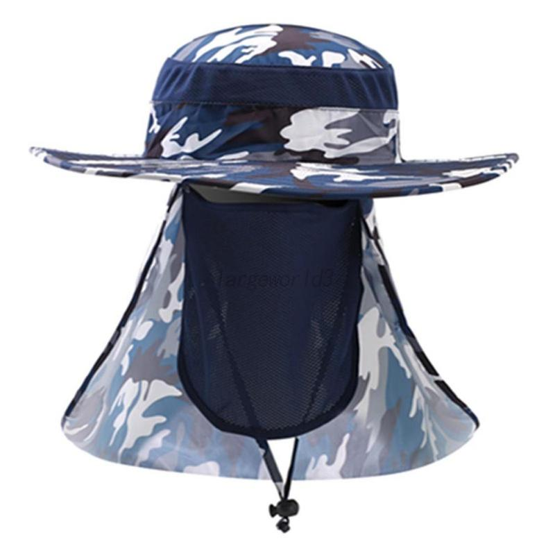 Outdoor sun hat neck face mask flap cover hiking fishing for Fishing neck cover