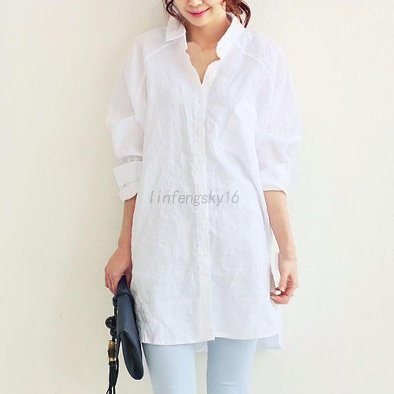 AU-Women-Loose-Long-Sleeve-Lady-Oversize-Shirt-Linen-Baggy-Tops-Blouse-Outwear