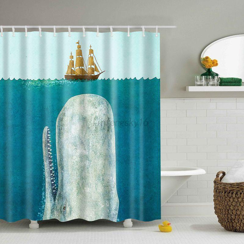 US Waterproof Bathroom Shower Curtain Fabric Animal Printing Tree ...