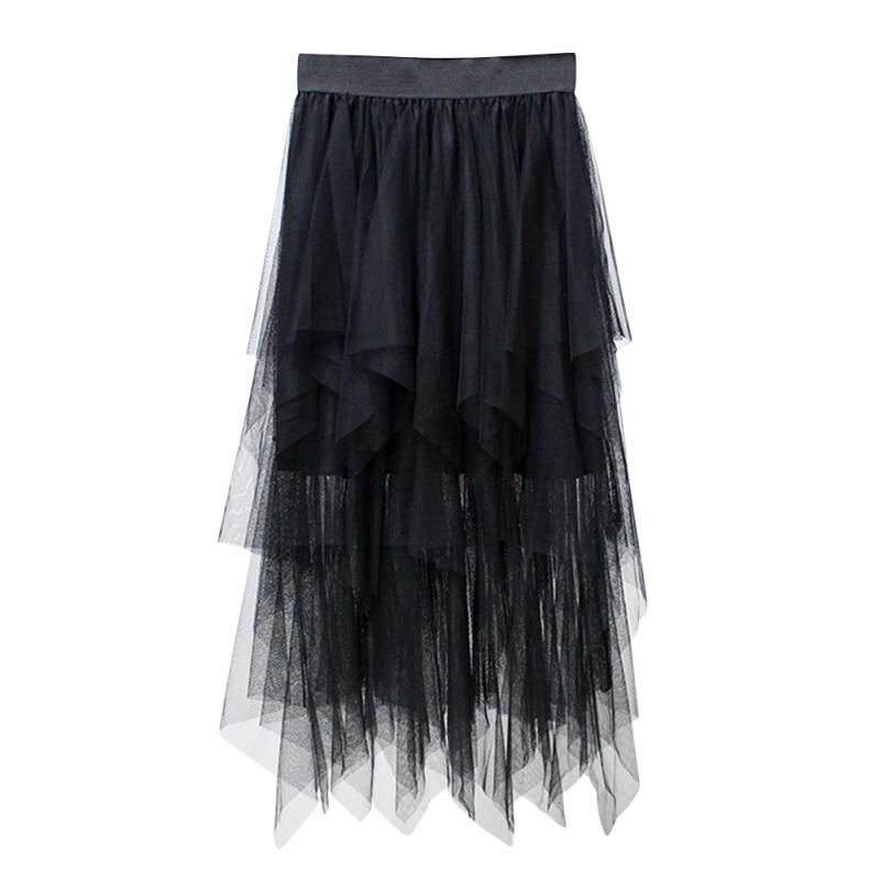 Fahion-Women-Puffy-Swan-Long-Skirt-Irregular-Ballet-Broom-Fairy-Tutu-Tulle-Dress