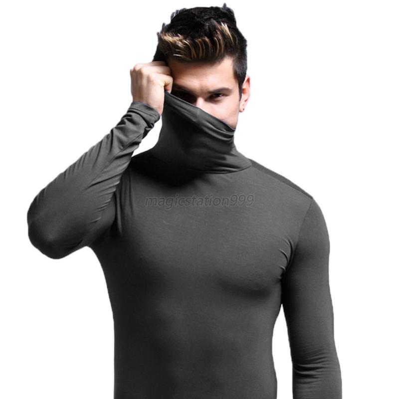 Men turtleneck thermal t shirt top under shirts base layer for Turtleneck under t shirt