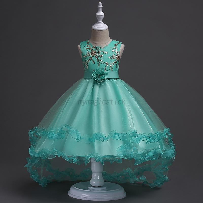 Kid Girl Dress Flower Formal Lace Wedding Birthday Pageant Princess ...