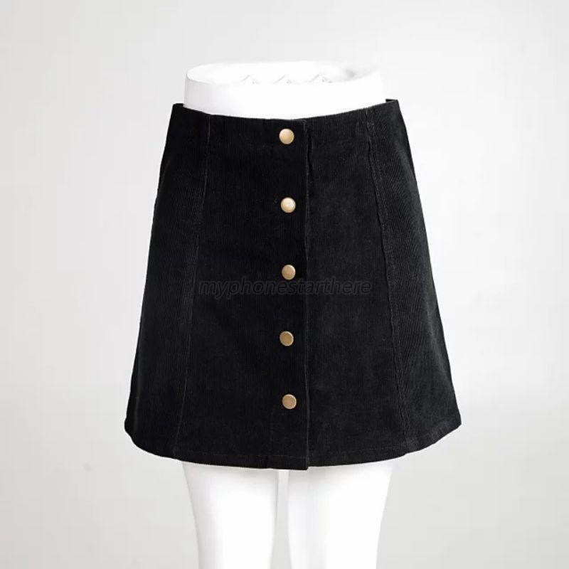 ad99d76cb Women Girl Corduroy Skirt High Waist Button Front Casual Short Mini ...