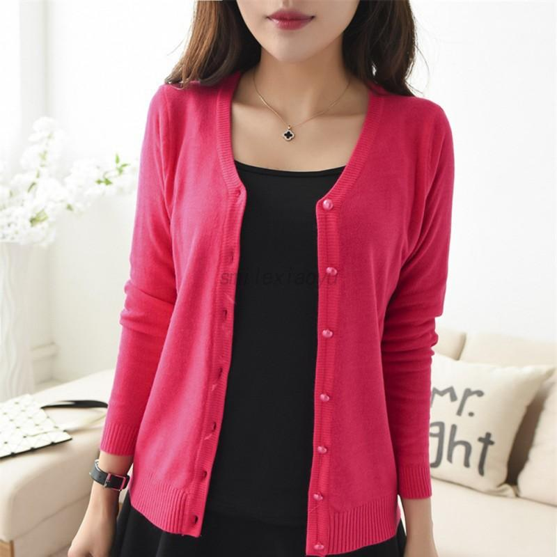 UK Women's Cardigan Button Sweater Knit Lace Button Front Long ...