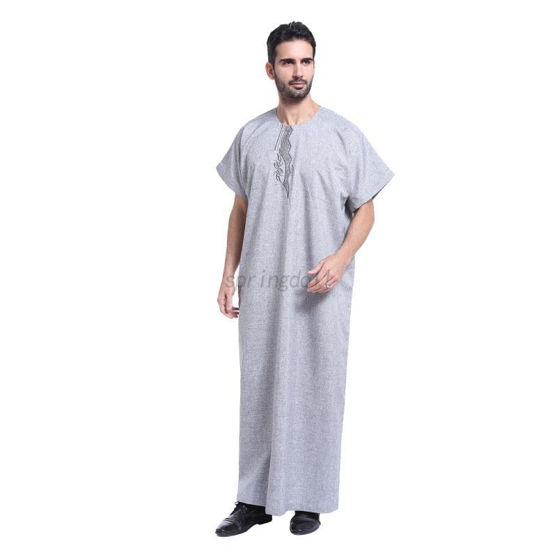 Mens Thobe Muslim Robes Saudi Abaya Galabeya Arabic Kaftan Dishdasha ...
