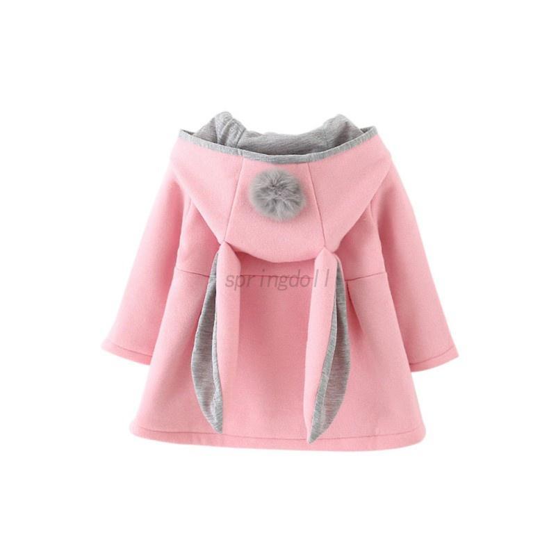 Toddler Baby Girl Woolen Coat Rabbit Bunny Ear Hooded Kids Warm Jacket Outerwear