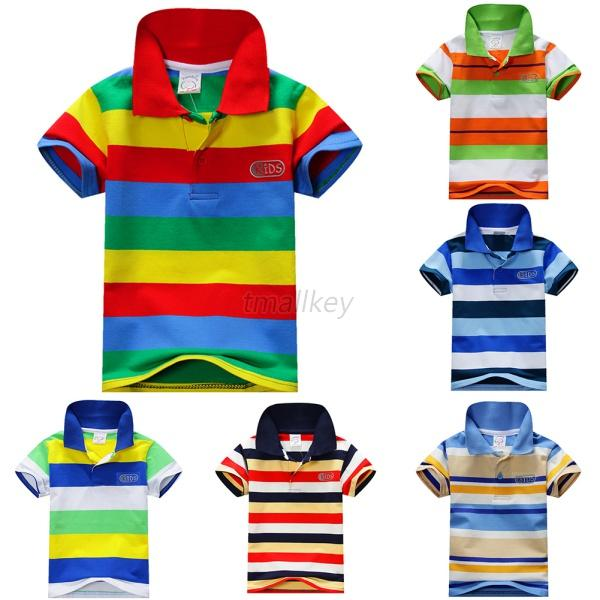 82d1b8de Baby Boys Kid Tops T-Shirt Summer Short Sleeve T Shirt Striped Polo Shirt  Tops