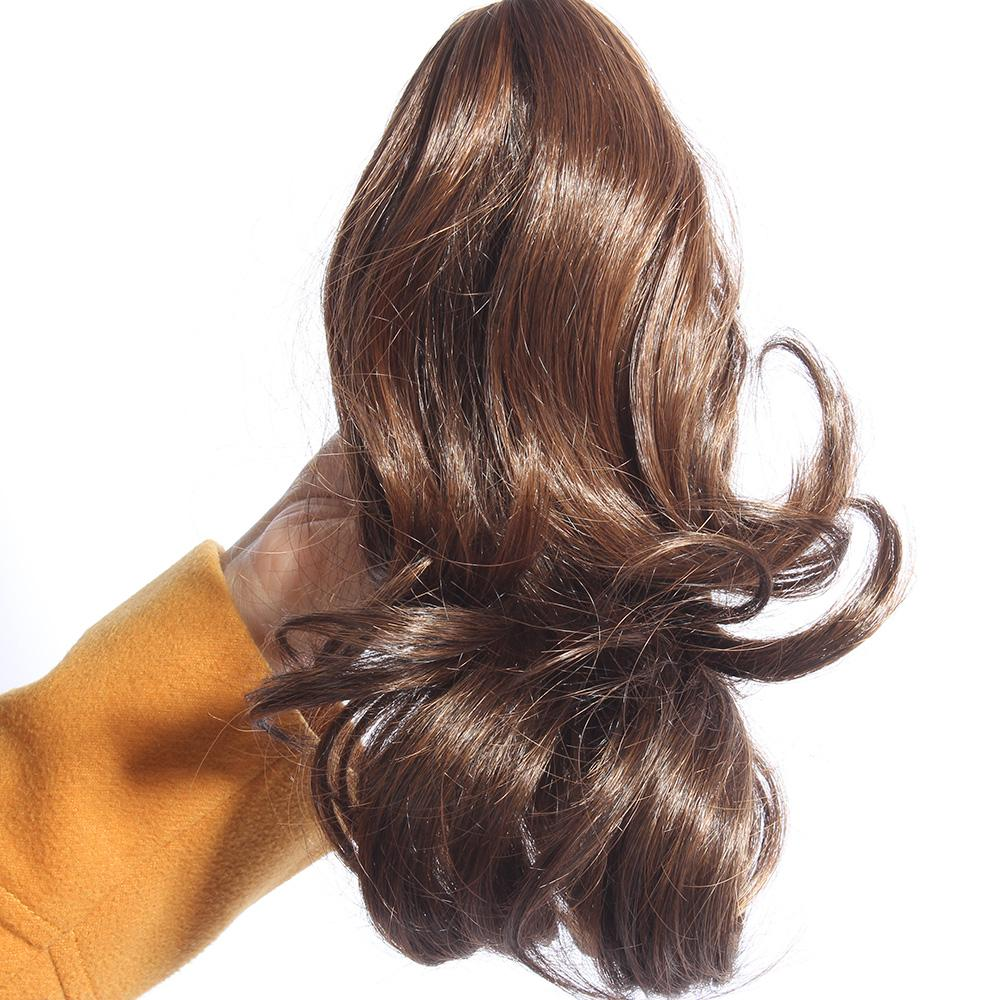 Women Curly Wavy Fake Hair Short Ponytail Hairpiece Claw Clip On