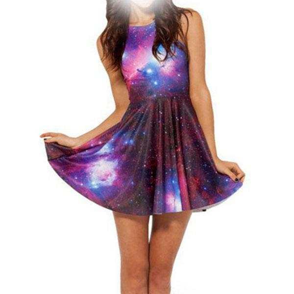Women-Dress-Galaxy-Print-Sleeveless-Casual-Dresses-Skater-Clubwear-Pleated-Size