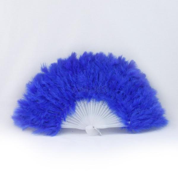 womens fluffy feather held folding fan wedding party