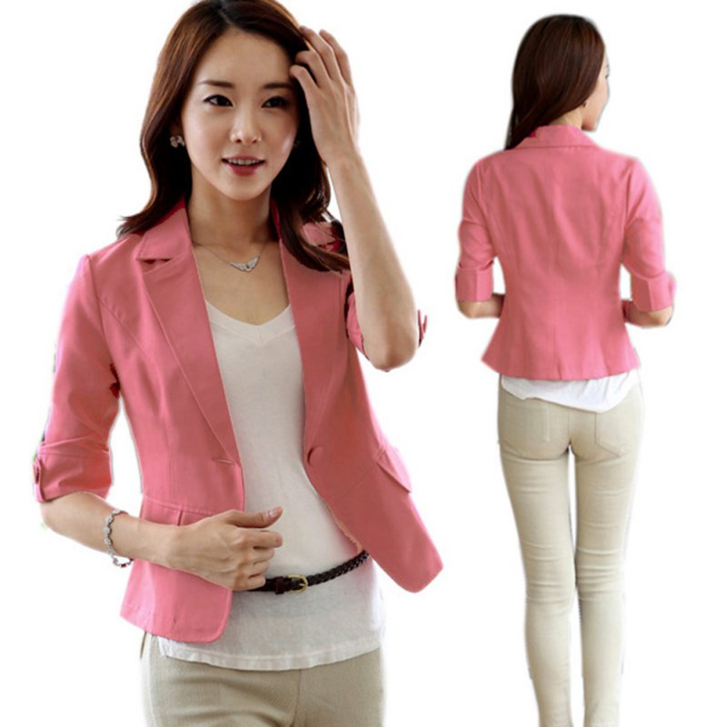 Women 3/4 Sleeve Suit Slim Fitted Jacket One Button Short Blazer ...