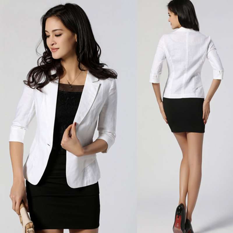 Stylish Women 3/4 Sleeve Suit Blazer Lapel Button Short OL Jacket ...