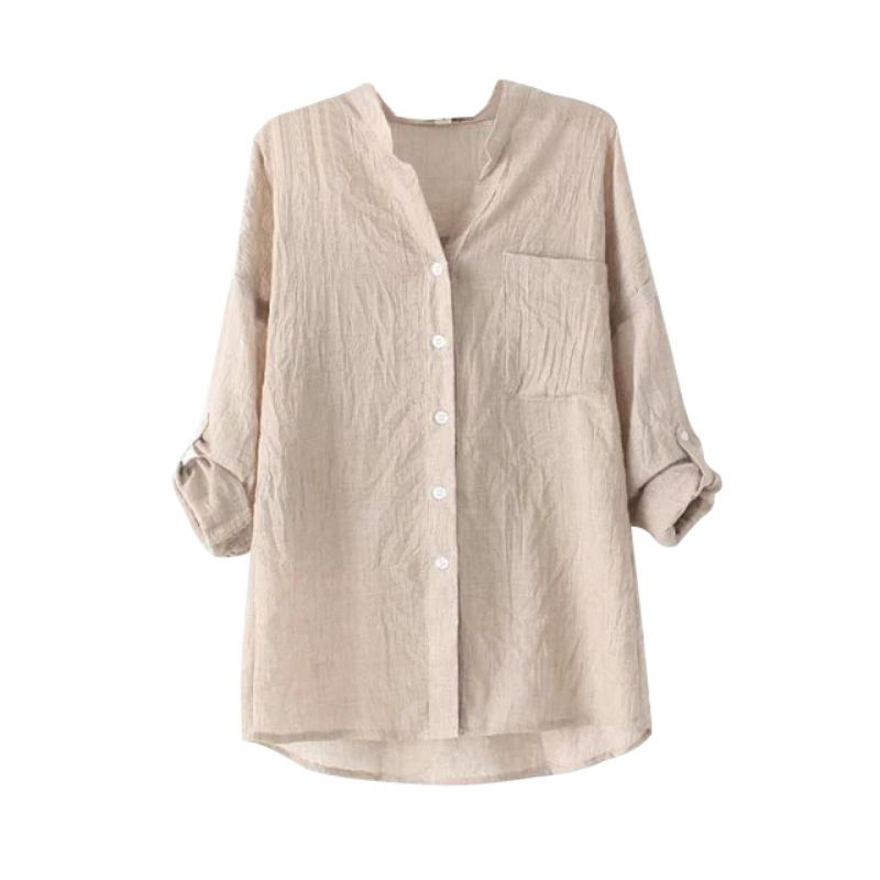 Women Loose Cotton Linen Blouse Casual Tops Sheer Button Down Shirt