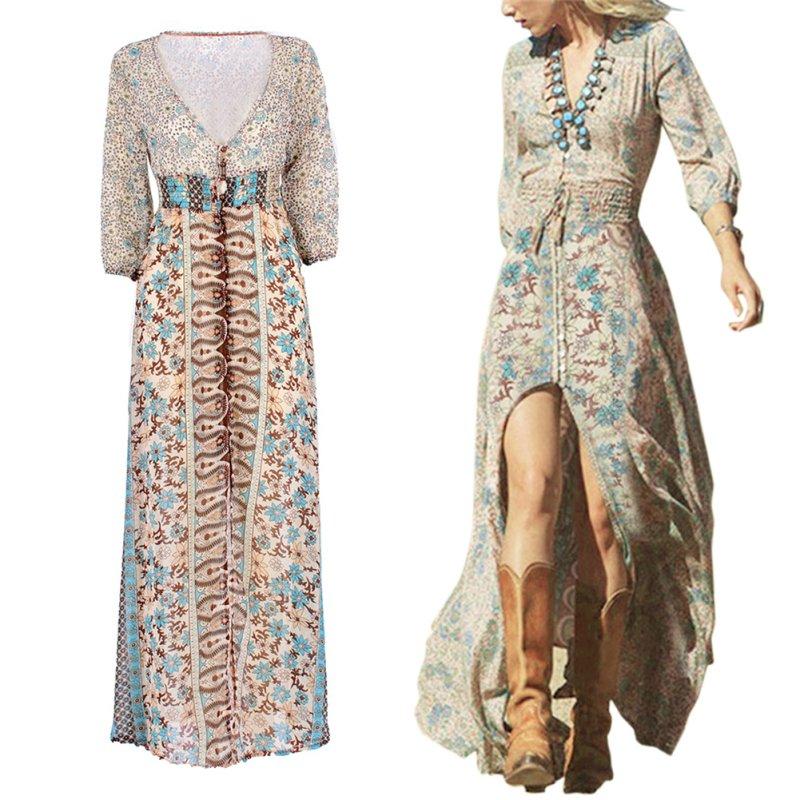 Women-Summer-Boho-Long-Maxi-Dress-Party-Beach-Cocktail-Floral-Dress-Fashion